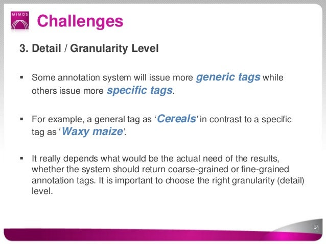 Challenges3. Detail / Granularity Level Some annotation system will issue more generic tags while  others issue more spec...