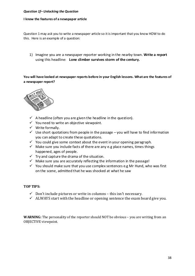 igcse english as a second language report writing sample