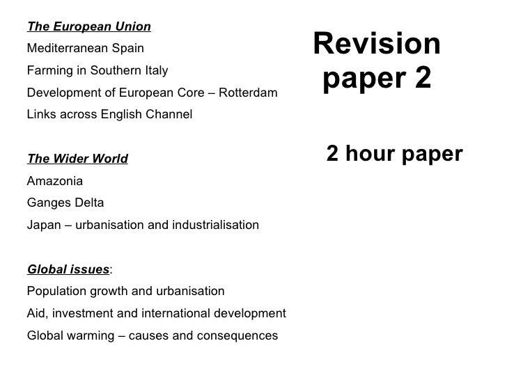 Revision paper 2 The European Union Mediterranean Spain Farming in Southern Italy Development of European Core – Rotterdam...