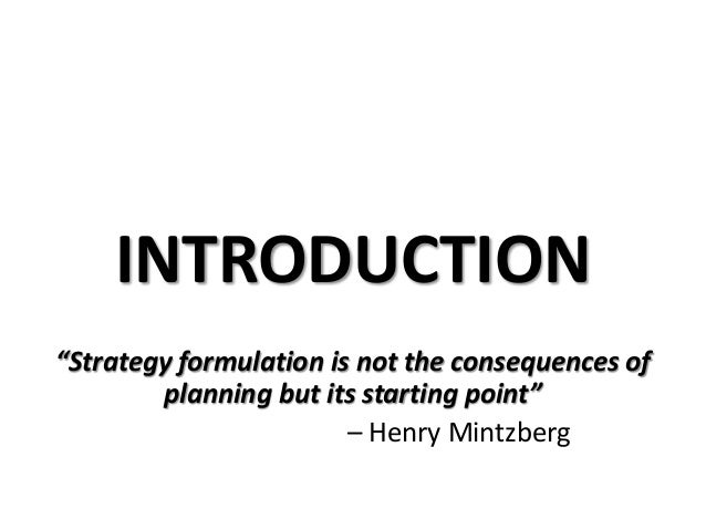 STRATEGY FORMULATION: DATA SYNTHESIS, ENVIRONMENTAL