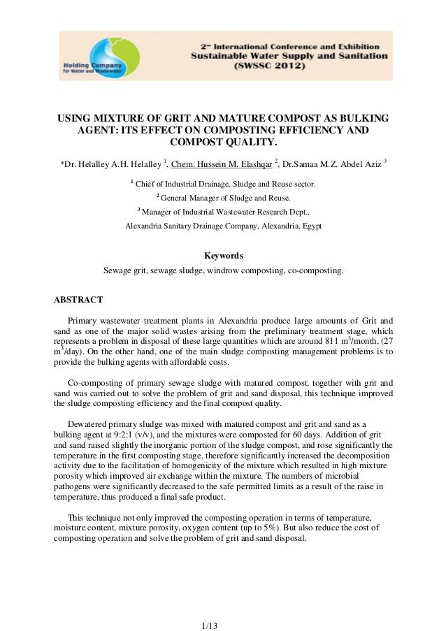 USING MIXTURE OF GRIT AND MATURE COMPOST AS BULKING AGENT: ITS EFFECT ON COMPOSTING EFFICIENCY AND COMPOST QUALITY. *Dr. H...