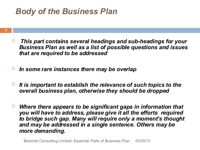 Bestride Consulting Limited: Essential Parts Of Business Plan 03/05/13; 3.