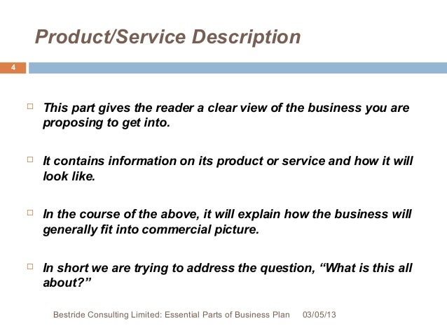 Bestride Consulting Limited: Essential Parts Of Business Plan 03/05/13; 4.