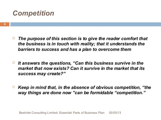 Bestride Consulting Limited: Essential Parts Of Business Plan 03/05/13; 6.