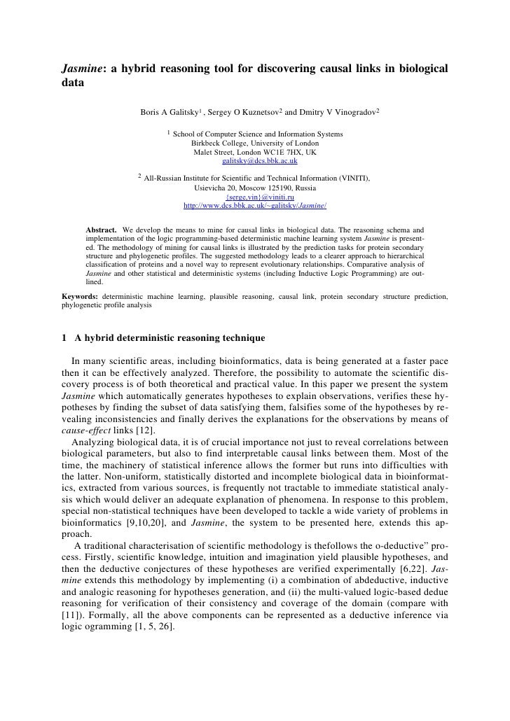 Jasmine: a hybrid reasoning tool for discovering causal links in biological data                          Boris A Galitsky...