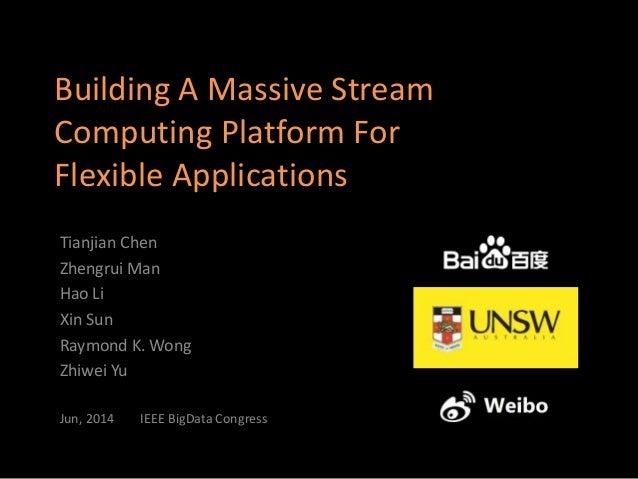 Building A Massive Stream Computing Platform For Flexible Applications Tianjian Chen Zhengrui Man Hao Li Xin Sun Raymond K...