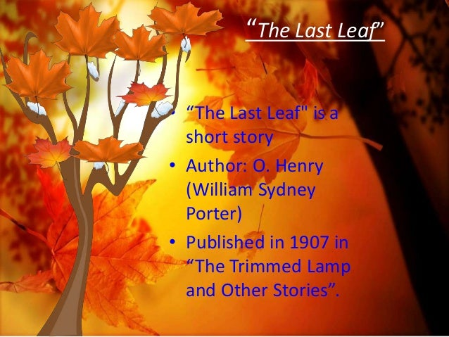 "the last leaf computer assisted literary criticism ""the last leaf"""