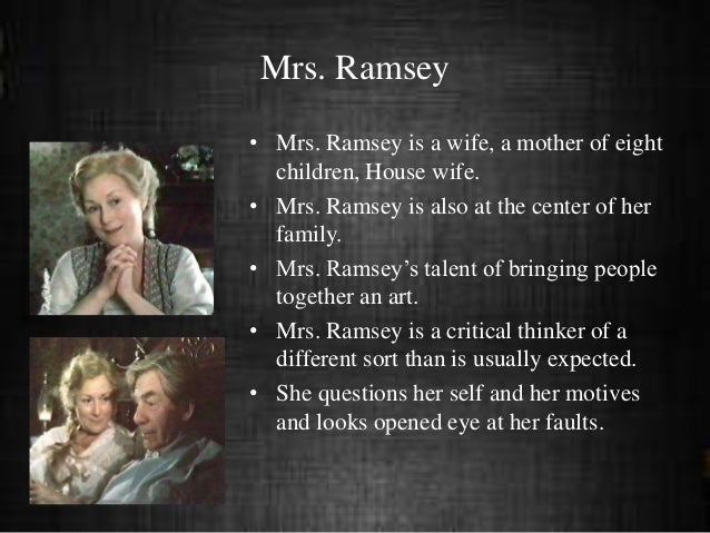 the characterization of mrs ramsay To the lighthouse essays - the character of mrs ramsay in to the lighthouse.