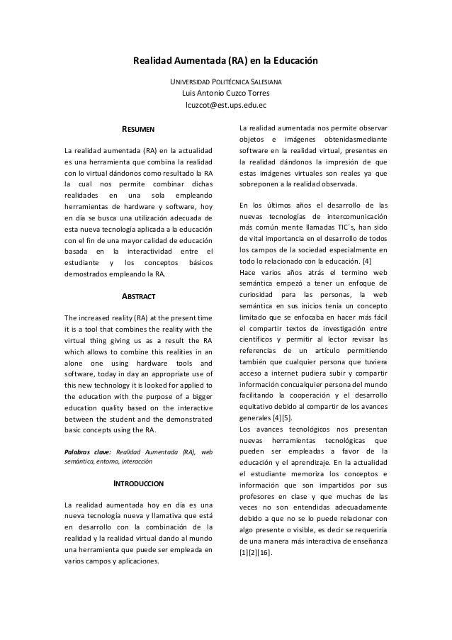 Realidad Aumentada (RA) en la Educación                                 UNIVERSIDAD POLITÉCNICA SALESIANA                 ...