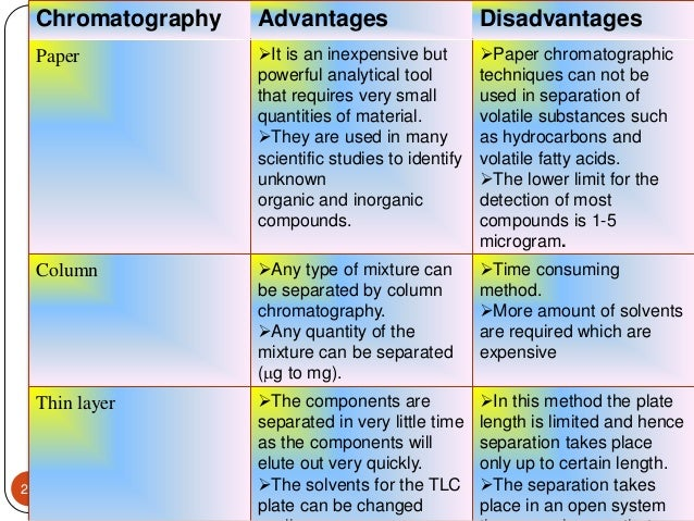 advantages and disadvantages of paper chromatography These are some disadvantages of using paper chromatography: 1 it can be used  as a  what are the advantages of using paper chromatography it is alot.