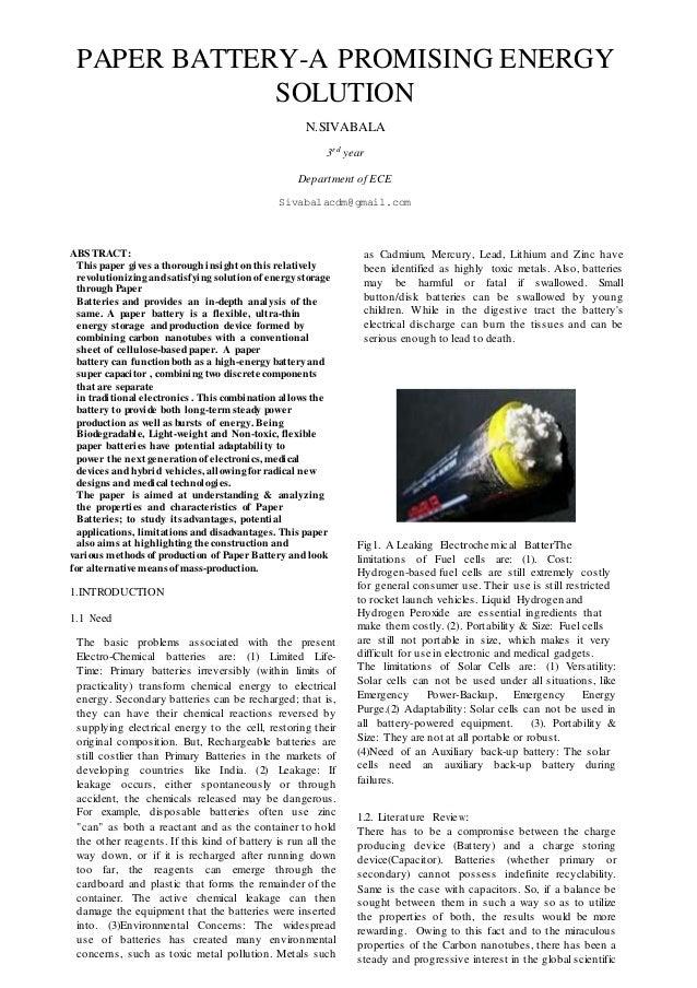 Technical Paper Presentation General Format