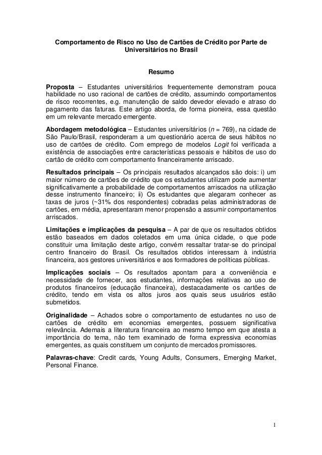 Comportamento de Risco no Uso de Cartões de Crédito por Parte de                      Universitários no Brasil            ...