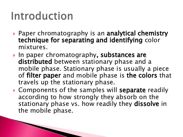 candy chromatography essay You may also sort these by color rating or essay length title candy chromatography - candy chromatography my experiment is called candy chromatography.