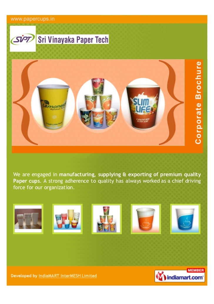 We are engaged in manufacturing, supplying & exporting of premium qualityPaper cups. A strong adherence to quality has alw...