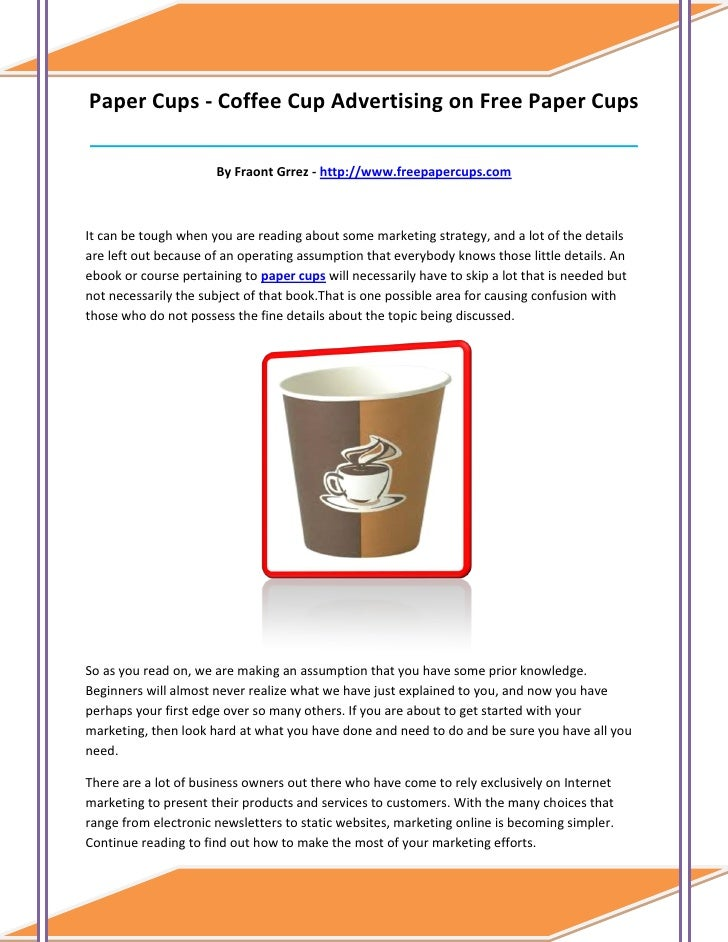 Paper Cups - Coffee Cup Advertising on Free Paper Cups____________________________________________________________________...
