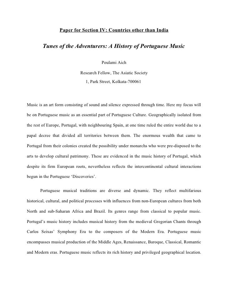 Paper for Section IV: Countries other than India           Tunes of the Adventurers: A History of Portuguese Music        ...