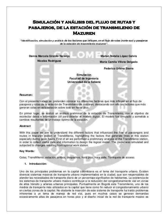 """Simulación y análisis del flujo de rutas y pasajeros, de la estación de transmilenio de Mazuren  """"Identificación, simulaci..."""