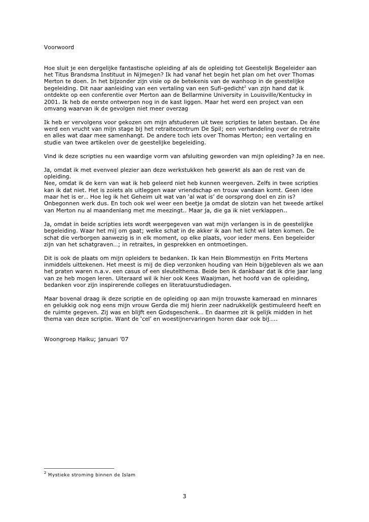 voorwoord plan van aanpak Geestelijke Begeleiding bij Thomas Merton voorwoord plan van aanpak