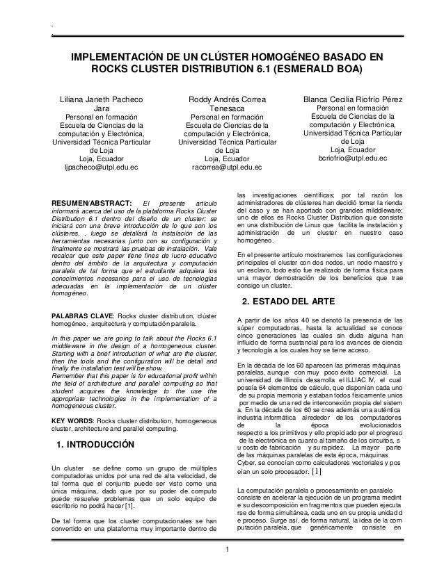 .  .  IMPLEMENTACIÓN DE UN CLÚSTER HOMOGÉNEO BASADO EN ROCKS CLUSTER DISTRIBUTION 6.1 (ESMERALD BOA) Liliana Janeth Pachec...