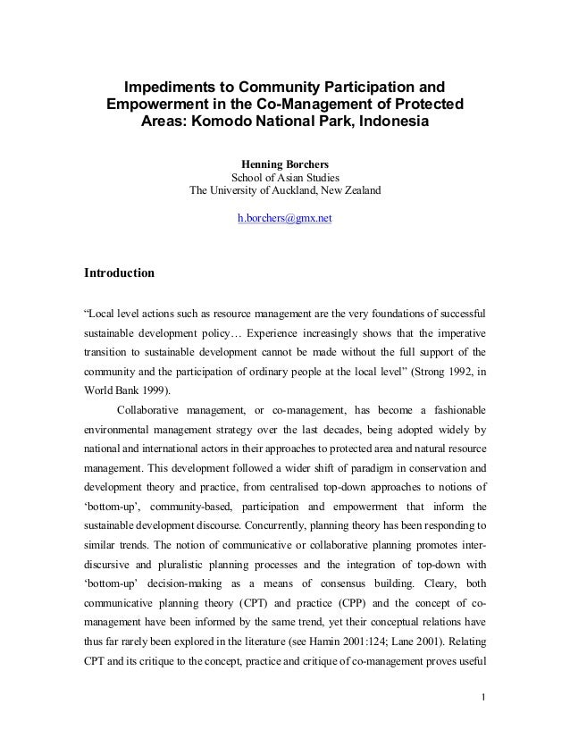 Impediments to Community Participation and Empowerment in the Co-Management of Protected Areas: Komodo National Park, Indo...