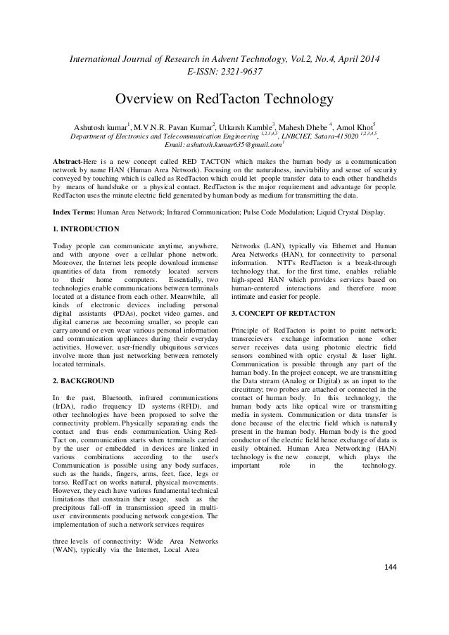 research paper on redtacton
