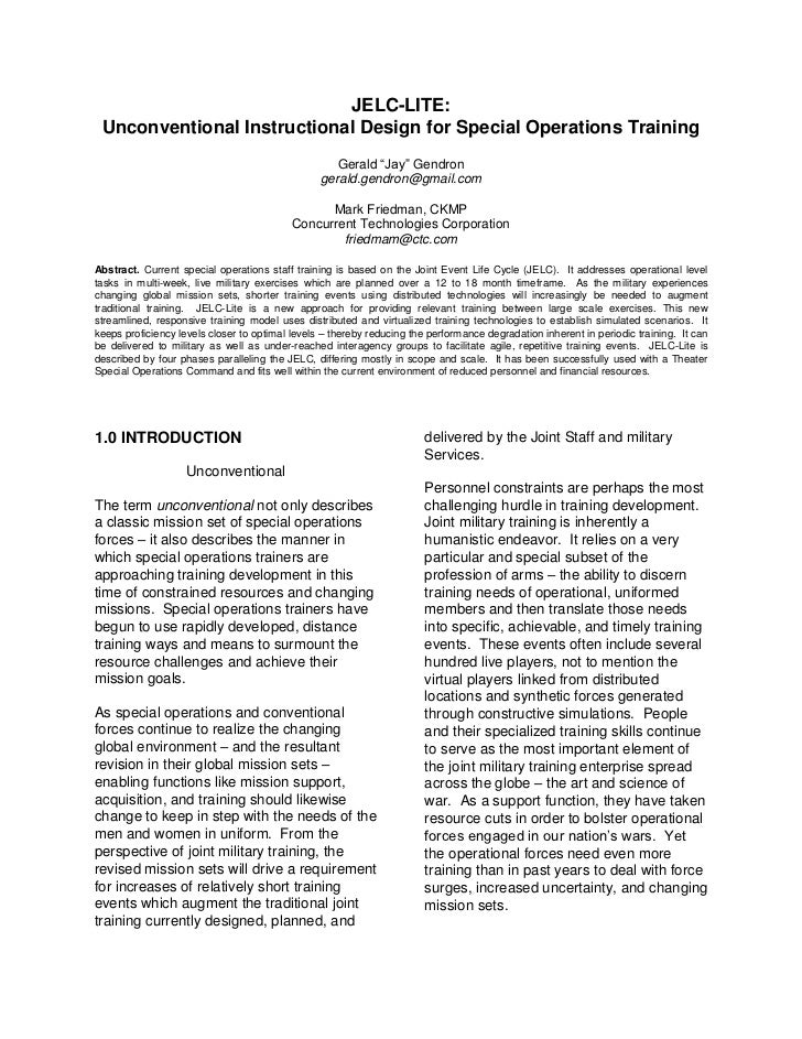 JELC-LITE: Unconventional Instructional Design for Special Operations Training                                            ...