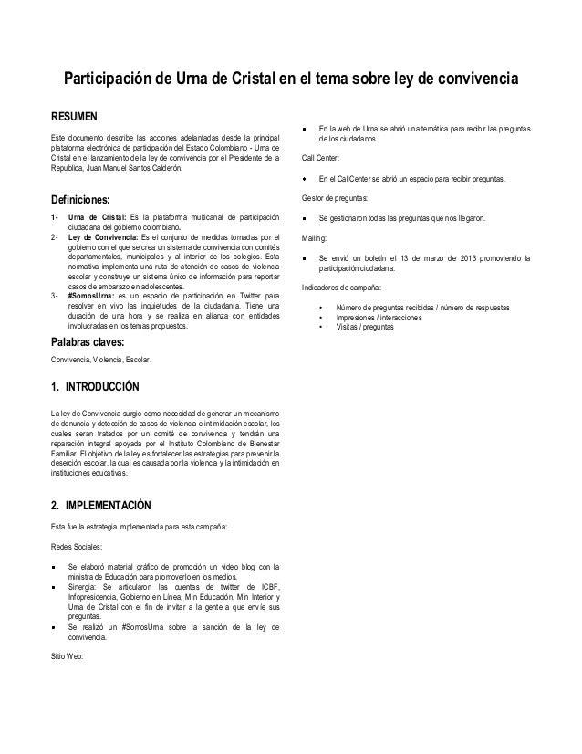 Participación de Urna de Cristal en el tema sobre ley de convivenciaRESUMEN                                               ...