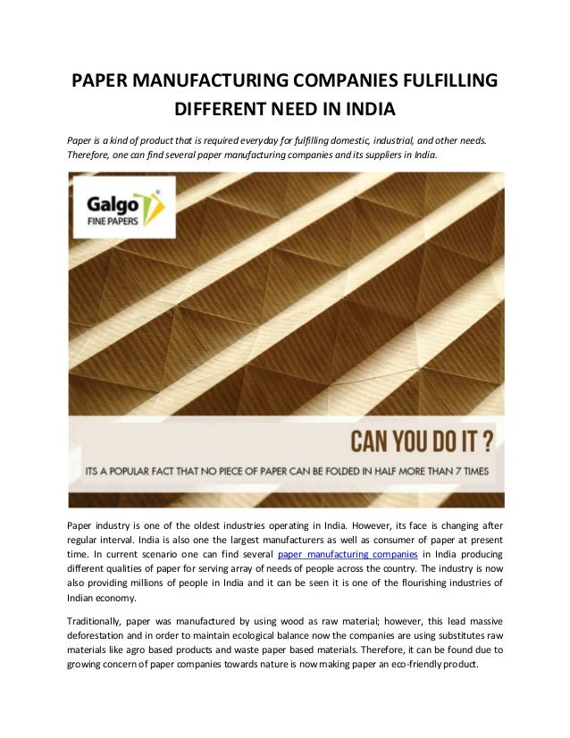 Paper Manufacturing Companies Fulfilling Different Need in India