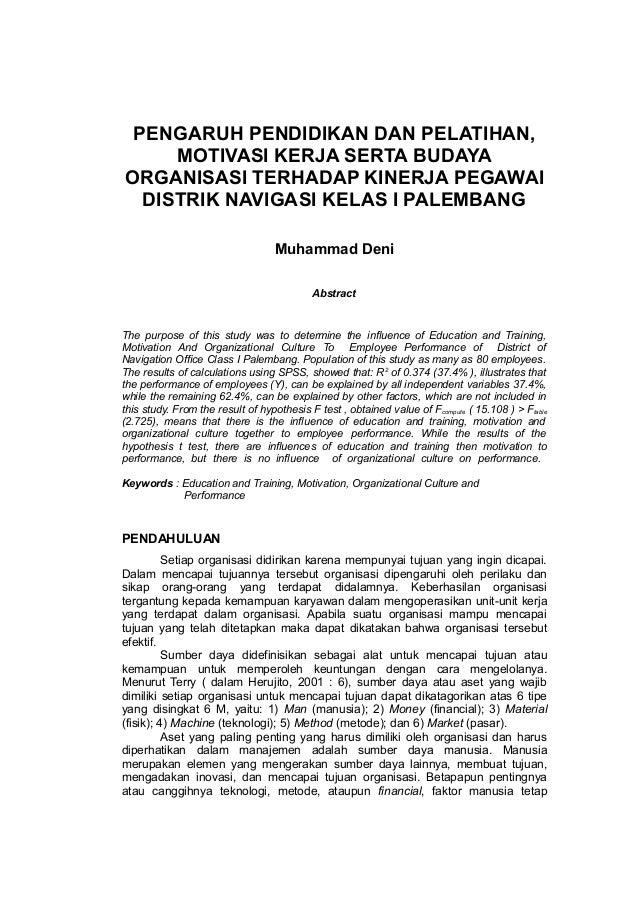 Pengaruh Pendidikan Dan Pelatihan Motivasi Serta Budaya Organisasi