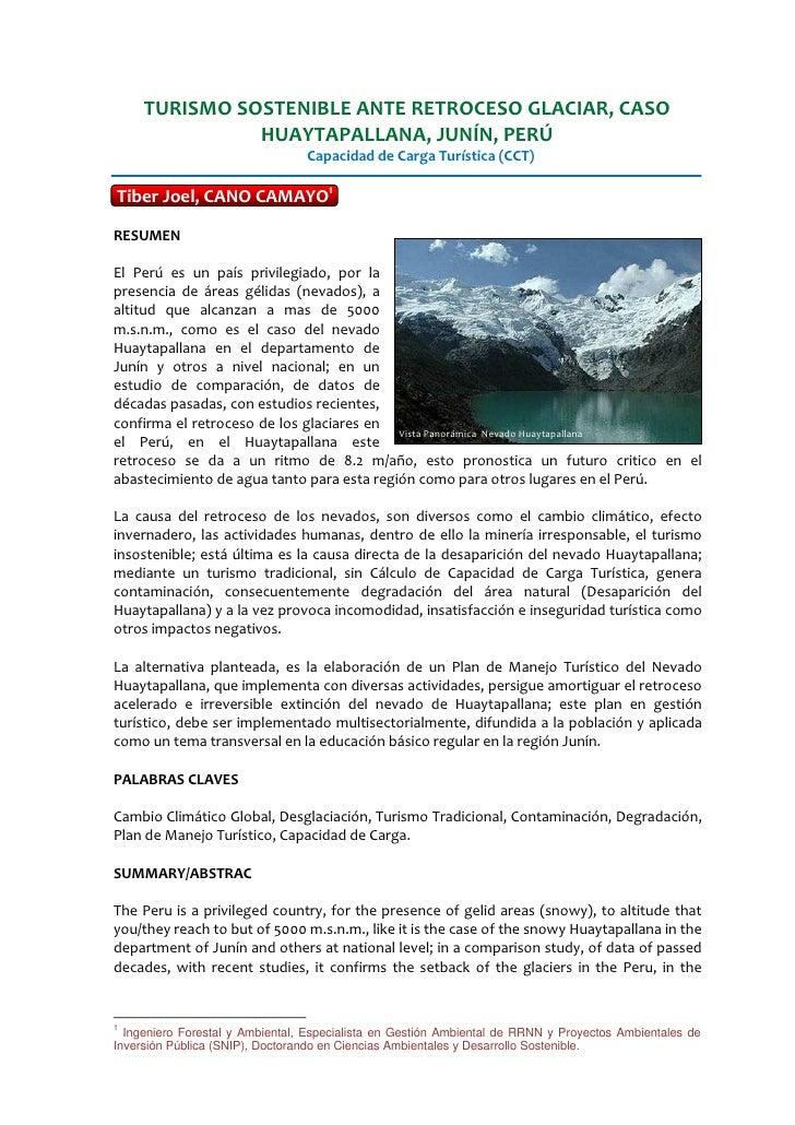 TURISMO SOSTENIBLE ANTE RETROCESO GLACIAR, CASO                HUAYTAPALLANA, JUNÍN, PERÚ                                 ...
