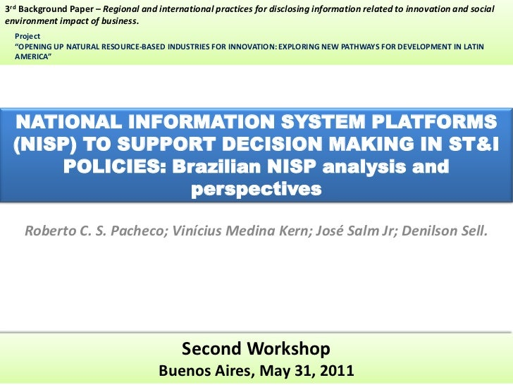 3rd Background Paper – Regional and international practices for disclosing information related to innovation and socialenv...