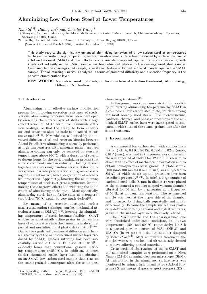 J. Mater. Sci. Technol., Vol.25 No.4, 2009                                   433Aluminizing Low Carbon Steel at Lower Temp...