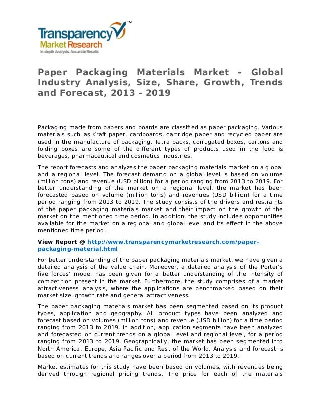 Global Paper Packaging Materials Market Essay