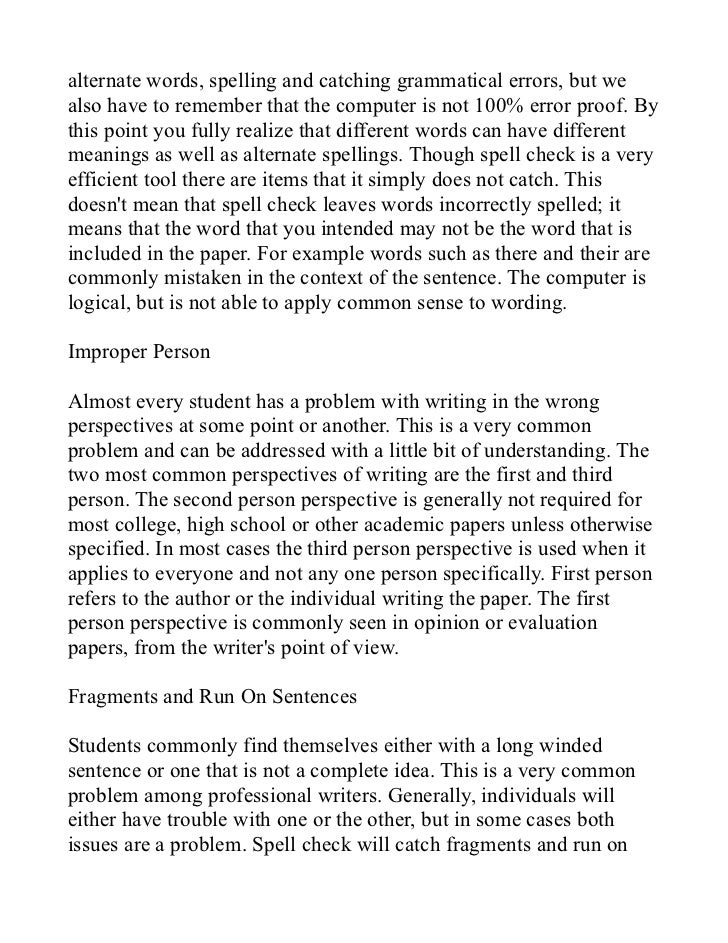 Essay writing errors