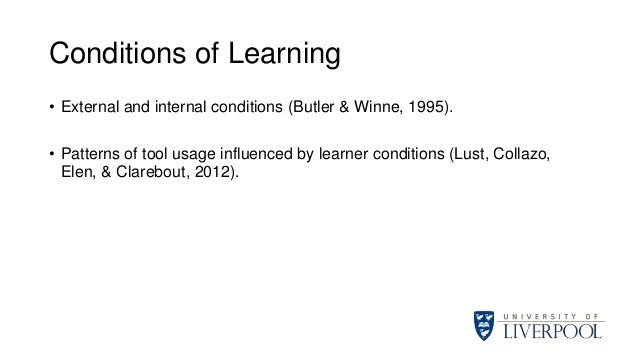 Conditions of Learning • External and internal conditions (Butler & Winne, 1995). • Patterns of tool usage influenced by l...