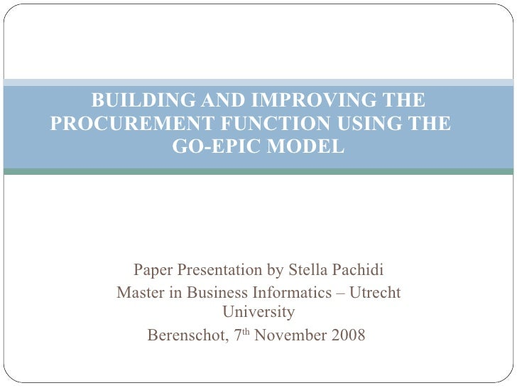 Paper Presentation by Stella Pachidi Master in Business Informatics – Utrecht University Berenschot, 7 th  November 2008  ...