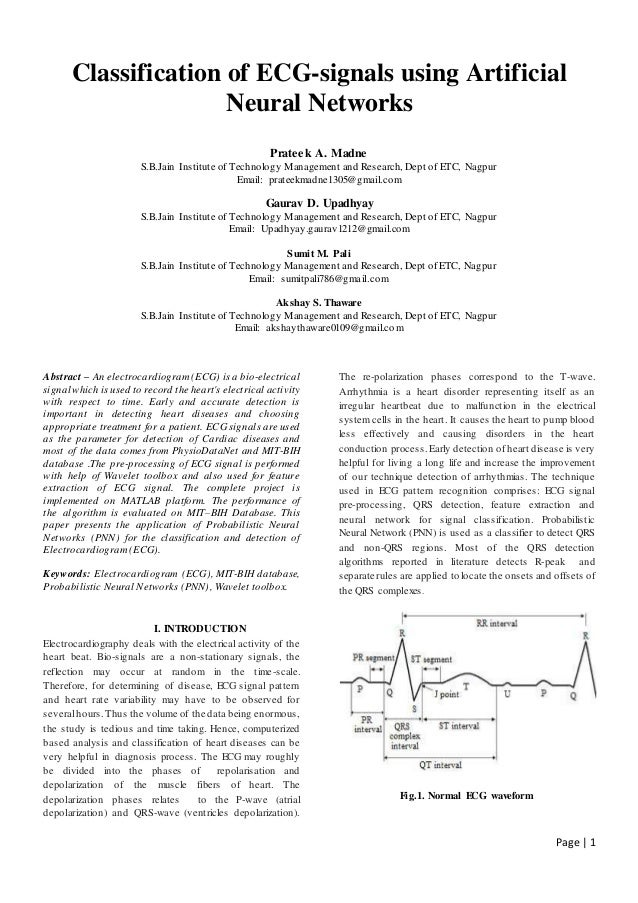 Classification and Detection of ECG-signals using Artificial Neural N…