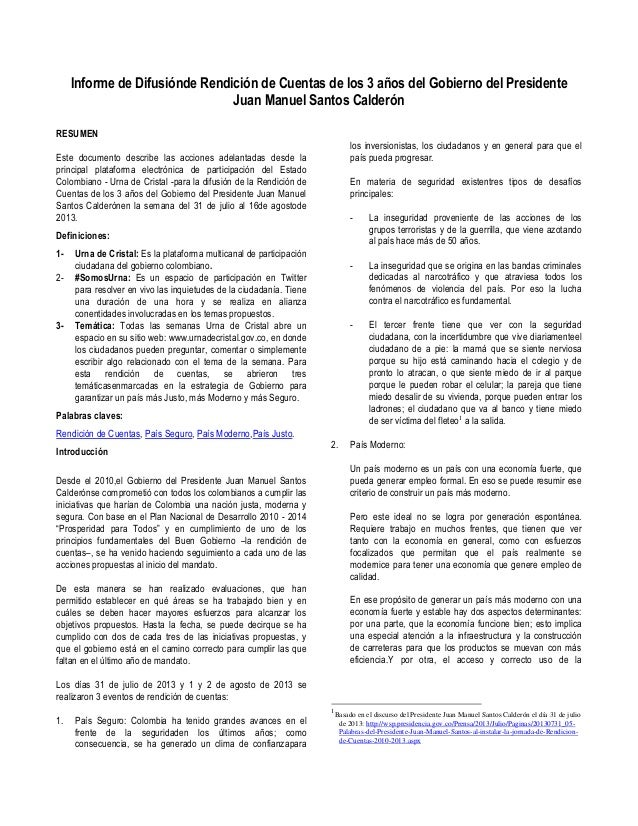 Informe de Difusiónde Rendición de Cuentas de los 3 años del Gobierno del Presidente Juan Manuel Santos Calderón RESUMEN  ...