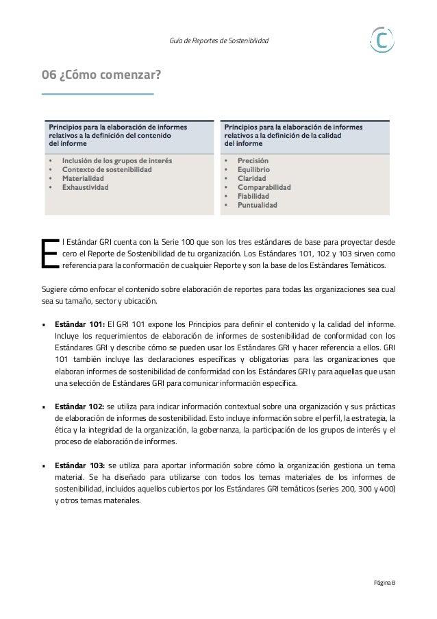 Guía de Reportes de Sostenibilidad   07 Proceso de Materialidad T odo proceso de Materialidad consta de tres pasos princ...
