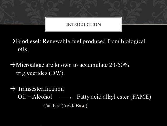 research review paper biodiesel from microalgae The development of the microalgae-based biodiesel technology has become a hot research topic in the bioenergy field in recent years presently, the technical possibility of the conversion of microalgae to biodiesel has been confirmed at the laboratory scale.