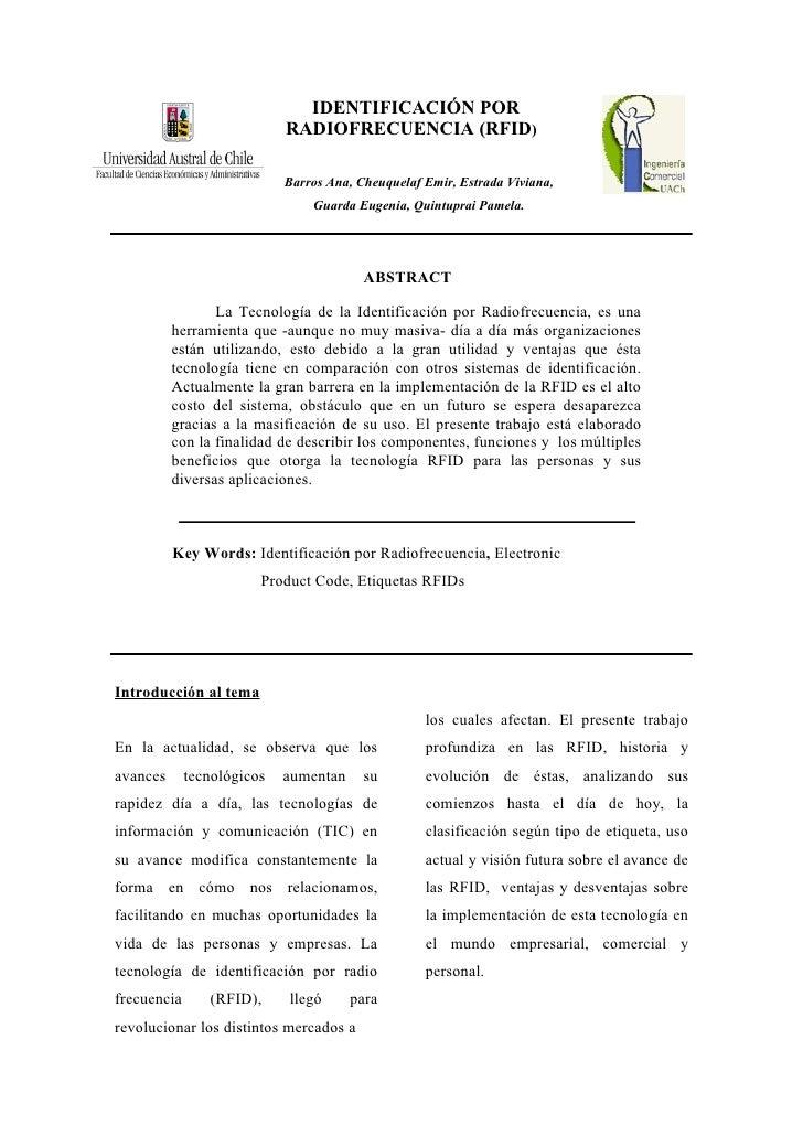 IDENTIFICACIÓN POR                             RADIOFRECUENCIA (RFID)                              Barros Ana, Cheuquelaf ...