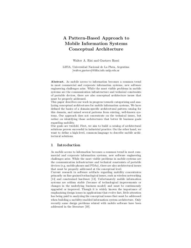 A Pattern-Based Approach to          Mobile Information Systems            Conceptual Architecture                  Walter...