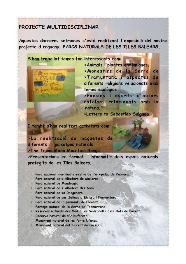 PROJECTE MULTIDISCIPLINAR Aquestes darreres setmanes s'està realitzant l'exposició del nostre projecte d'enguany, PARCS NA...