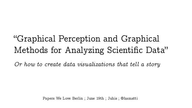 """""""Graphical Perception and Graphical Methods for Analyzing Scientific Data"""" Or how to create data visualizations that tell a..."""