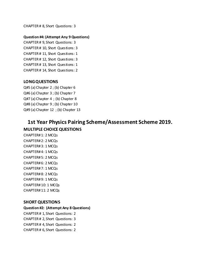 All Subjects Paper Scheme Of 1st Year 2019 (Punjab Board)