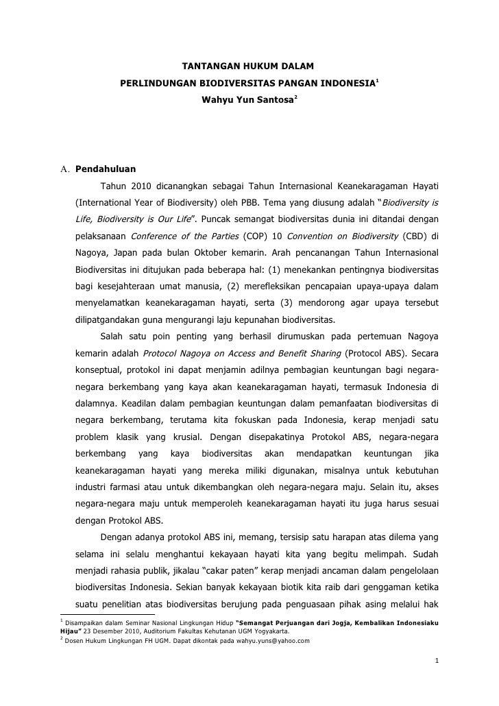 TANTANGAN HUKUM DALAM                 PERLINDUNGAN BIODIVERSITAS PANGAN INDONESIA1                                        ...