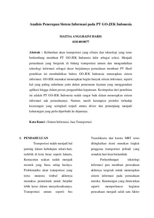 Analisis Penerapan Sistem Informasi Pada Pt Go Jek Indonesia