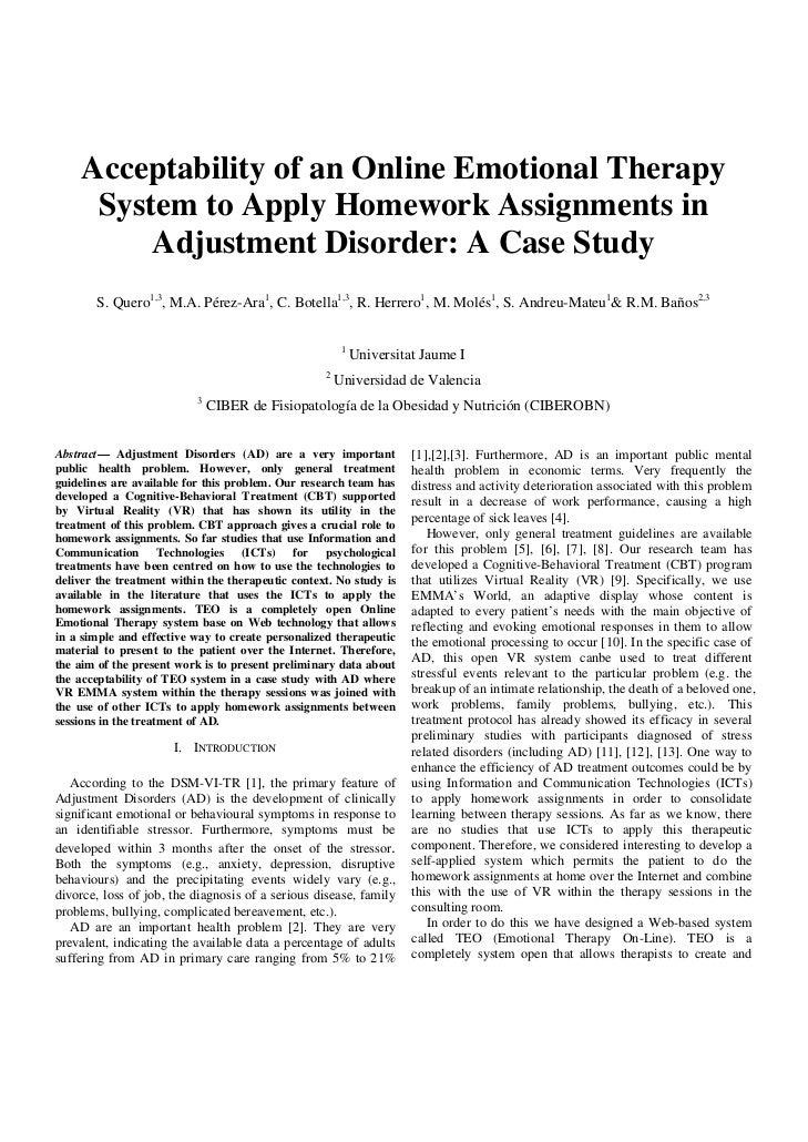 Acceptability of an Online Emotional Therapy      System to Apply Homework Assignments in          Adjustment Disorder: A ...