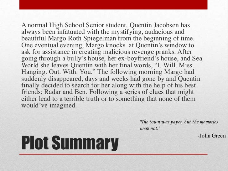 Paper towns book plot summary