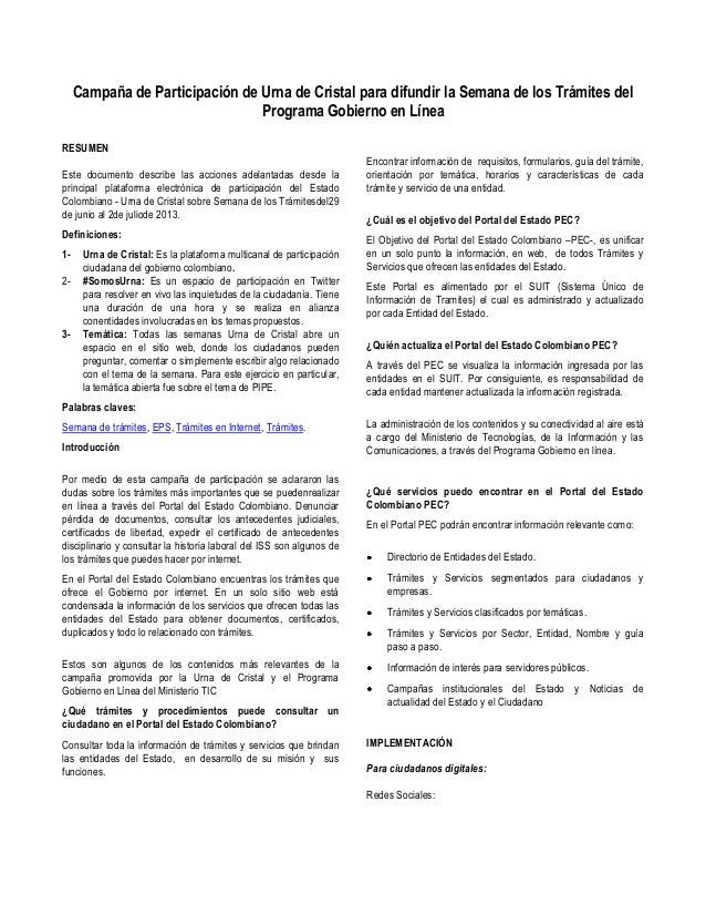 Campaña de Participación de Urna de Cristal para difundir la Semana de los Trámites del Programa Gobierno en Línea RESUMEN...